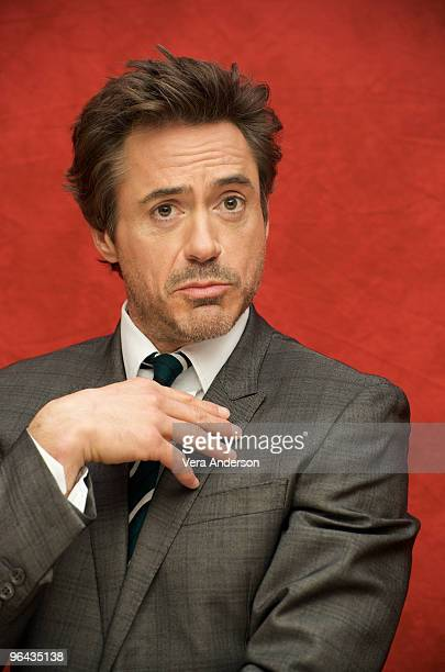 "Robert Downey Jr. At the ""Sherlock Holmes"" press conference at the Montage Hotel on December 1, 2009 in Los Angeles, California."