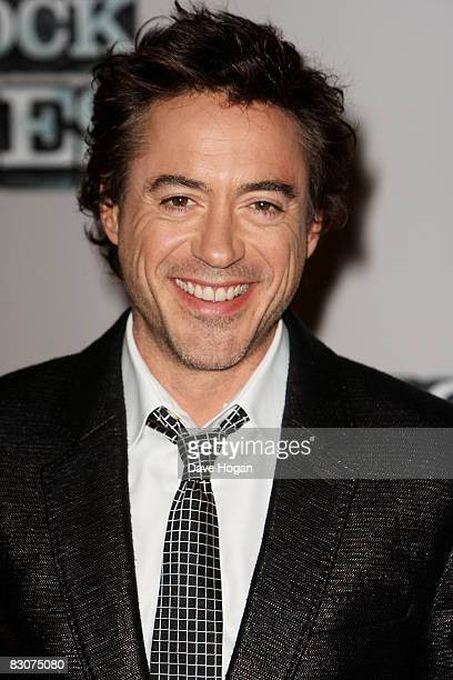 Robert Downey Jr attends a preproduction press conference for 'Sherlock Holmes' at the Freemasons Hall on October 1 2008 in London England