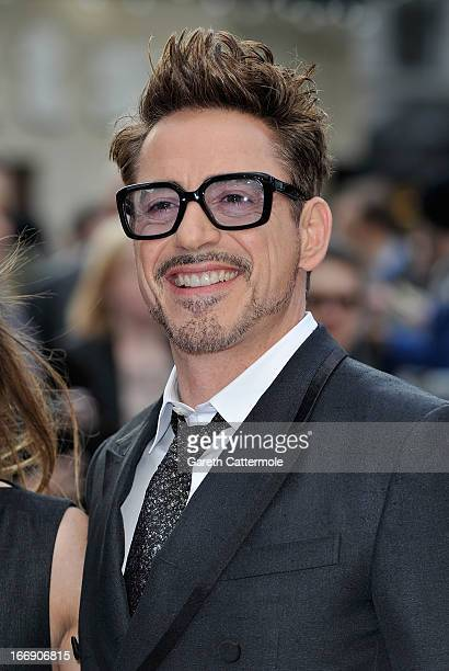Robert Downey Jr attends a special screening of 'Iron Man 3' at Odeon Leicester Square on April 18 2013 in London England