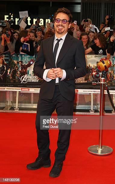 "Robert Downey JR attends ""Marvel Avengers Assemble"" - European premiere at Vue Westfield on April 19, 2012 in London, England."