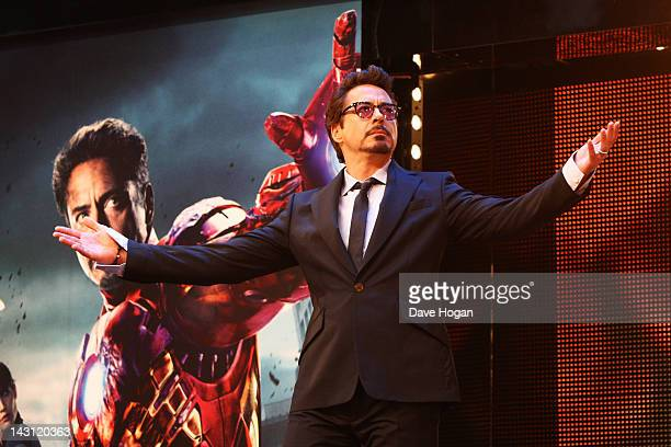 Robert Downey Jr attends the European premiere of Marvel's 'Avengers Ensemble' at The Vue Westfield on April 19 2012 in London England