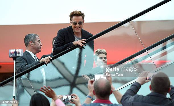 "Robert Downey Jr. Attends the European premiere of ""The Avengers: Age Of Ultron"" at Westfield London on April 21, 2015 in London, England."
