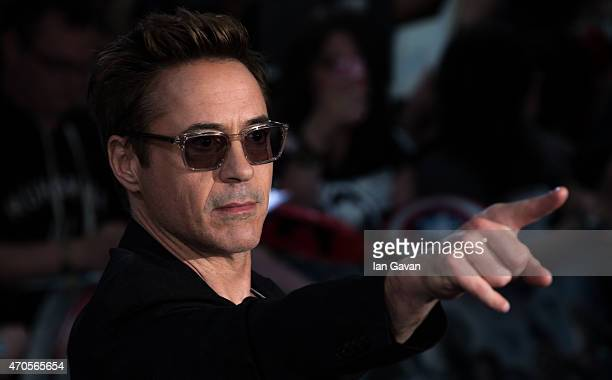 Robert Downey Jr attends the European premiere of The Avengers Age Of Ultron at Westfield London on April 21 2015 in London England