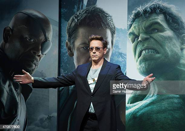 Robert Downey Jr attends the European premiere of 'The Avengers Age Of Ultron' at Westfield London on April 21 2015 in London England
