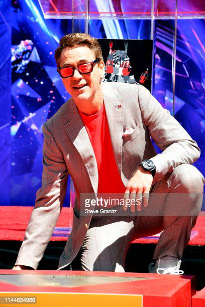 Robert Downey Jr attends the Marvel Studios' Avengers Endgame cast place their hand prints in cement at TCL Chinese Theatre IMAX Forecourt at TCL...