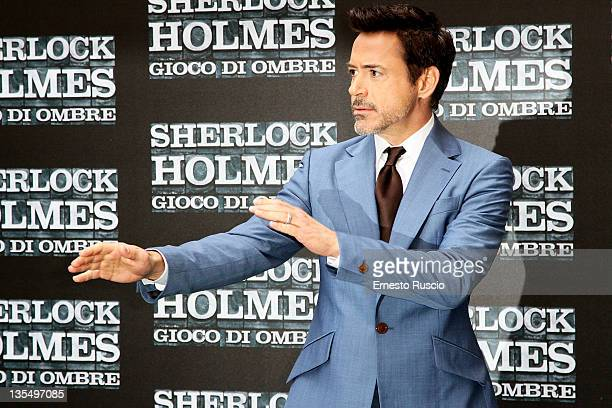 Robert Downey Jr attends the ' Sherlock Holmes A Game Of Shadows' photocall at Hotel Hassler on December 11 2011 in Rome Italy