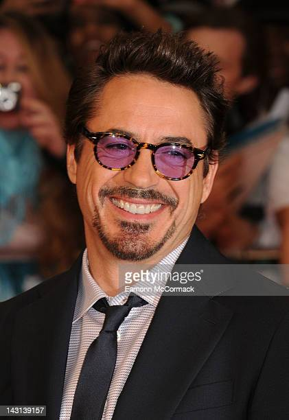 Robert Downey Jr. Attends the UK premiere of Marvel Avengers Assemble at Vue West End on April 19, 2012 in London, England.