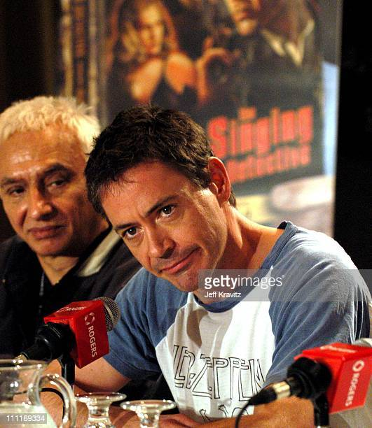 Robert Downey Jr during 2003 Toronto Film Festival 'The Singing Detective' Press Conference at Delta Chelsea Hotel in Toronto Ontario Canada