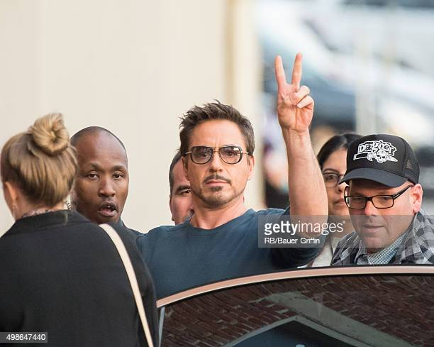 Robert Downey Jr is seen at 'Jimmy Kimmel Live' on November 24 2015 in Los Angeles California