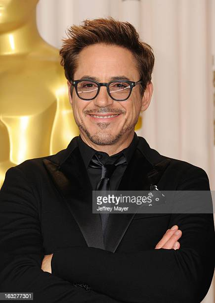 Robert Downey Jr poses in the press room the 85th Annual Academy Awards at Dolby Theatre on February 24 2013 in Hollywood California
