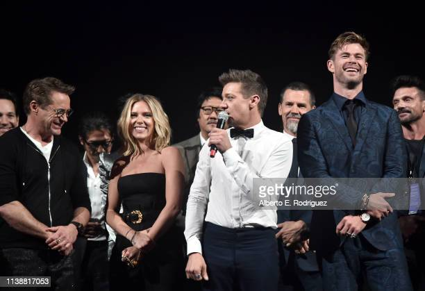 Robert Downey Jr Scarlett Johansson Jeremy Renner and Chris Hemsworth speak onstage during the Los Angeles World Premiere of Marvel Studios' Avengers...
