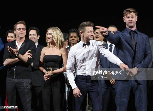 Robert Downey Jr Scarlett Johansson Jeremy Renner and Chris Hemsworth attend the Los Angeles World Premiere of Marvel Studios' Avengers Endgame at...