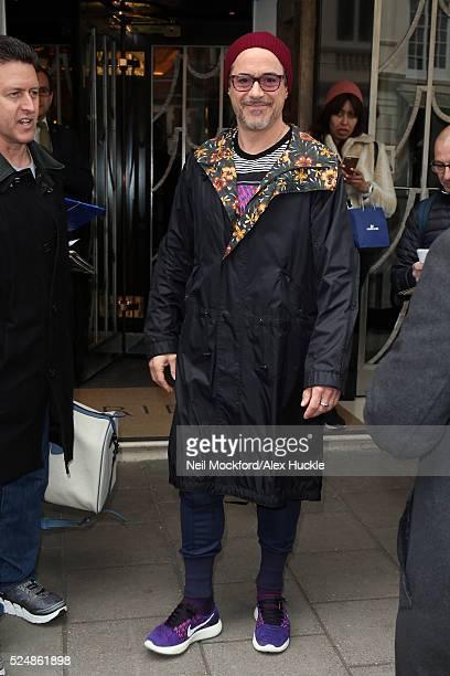 Robert Downey Jr seen leaving Claridges Hotel on April 27 2016 in London England