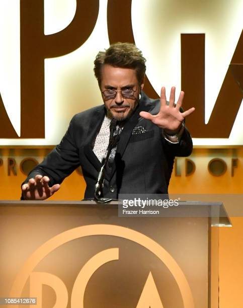Robert Downey Jr. Speaks onstage during the 30th annual Producers Guild Awards at The Beverly Hilton Hotel on January 19, 2019 in Beverly Hills,...