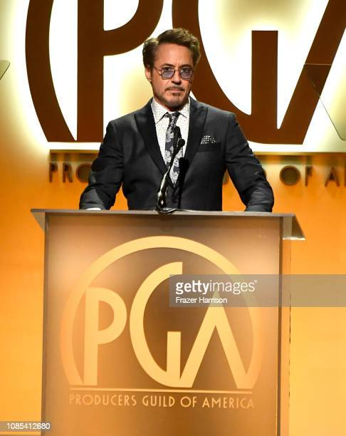 Robert Downey Jr speaks onstage during the 30th annual Producers Guild Awards at The Beverly Hilton Hotel on January 19 2019 in Beverly Hills...