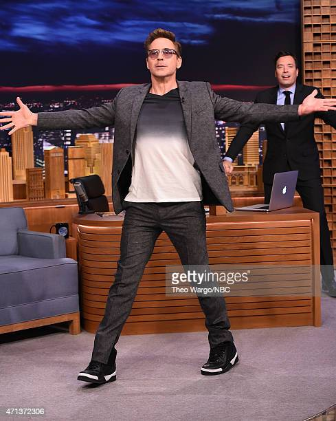 Robert Downey Jr Visits 'The Tonight Show Starring Jimmy Fallon' at Rockefeller Center on April 27 2015 in New York City