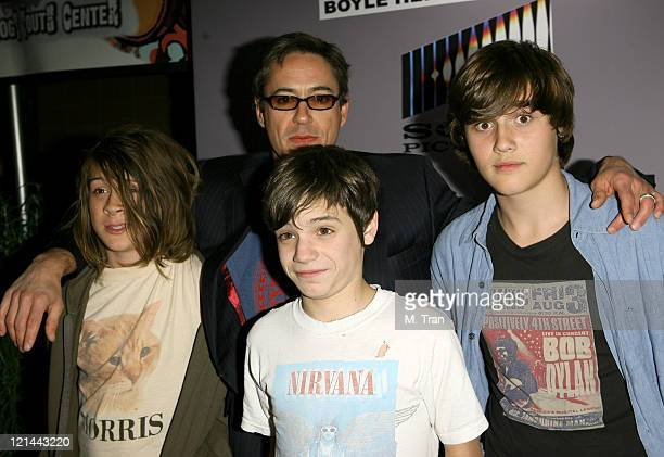 Robert Downey Jr with son Indio and guests during The Boyle Heights Music and Arts Program Launch Arrivals at Boyle Heights School in Los Angeles...