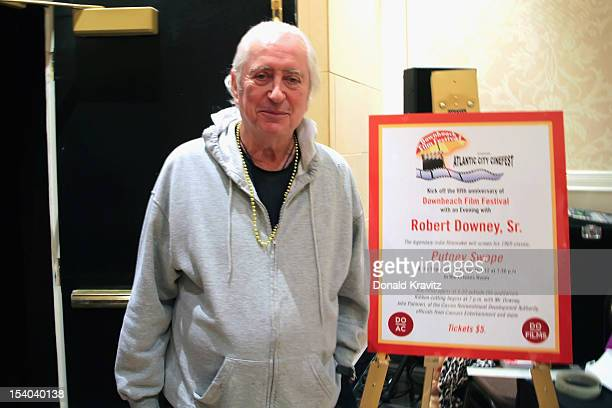 Robert Downey Sr stands next to his welcome sign as he attends An Evening With Robert Downey Sr during the 2012 Atlantic City Cinefest at Showboat...