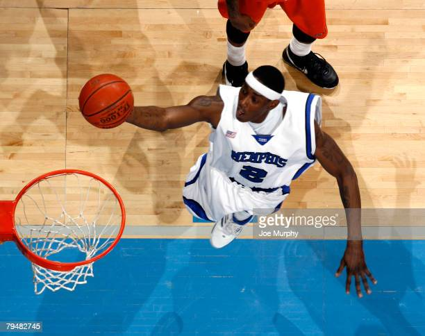 Robert Dozier of the Memphis Tigers shoots a layup against the UTEP Miners at FedExForum on February 2 2008 in Memphis Tennessee The Tigers beat the...