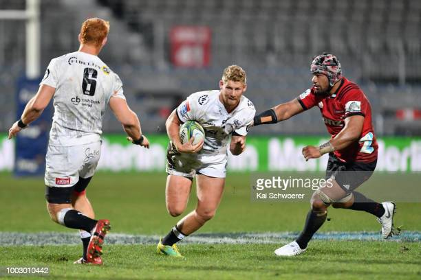Robert du Preez of the Sharks charges forward during the Super Rugby Qualifying Final match between the Crusaders and the Sharks at AMI Stadium on...