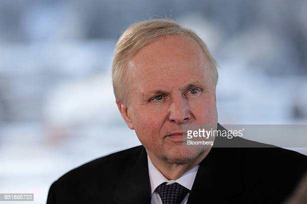 Robert Dudley chief executive officer of BP Plc looks on during a Bloomberg Television interview at the World Economic Forum in Davos Switzerland on...
