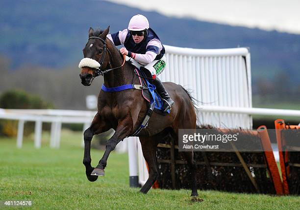 Robert Dunne riding Brandon Hill clear the last to win The 1871 Handicap Hurdle Race at Ludlow racecourse on January 07 2015 in Ludlow England
