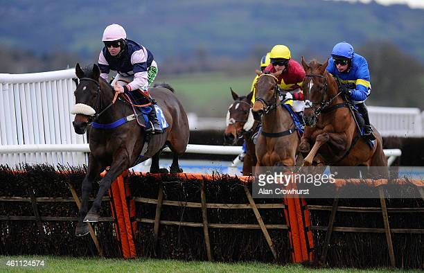 Robert Dunne riding Brandon Hill on their way to winning The 1871 Handicap Hurdle Race at Ludlow racecourse on January 07 2015 in Ludlow England