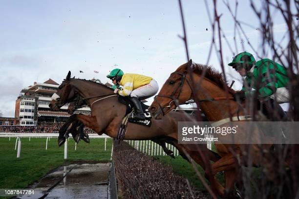 Robert Dunne riding Carole's Destrier clear the water jump on their way to winning The Betway Mandarin Handicap Chase at Newbury Racecourse on...