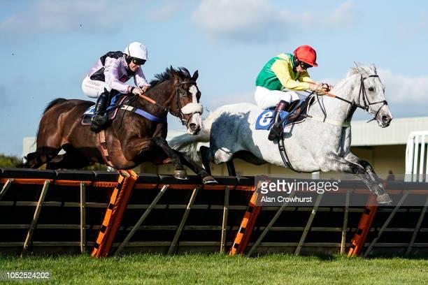 Robert Dunne riding Equus Amadeus clear the last to win The smarketscom Handicap Hurdle at Wincanton Racecourse on October 19 2018 in Wincanton...