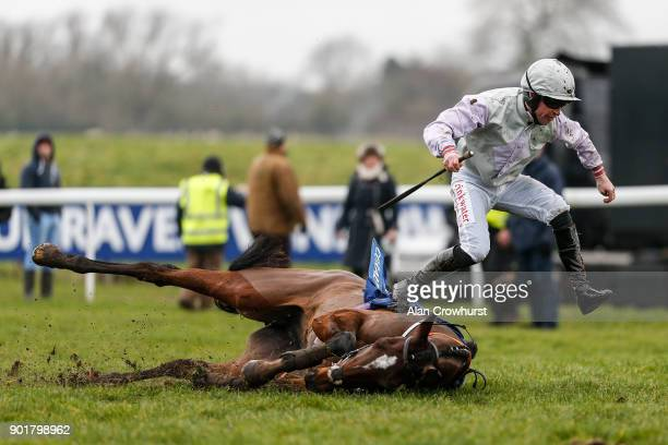 Robert Dunne riding Famous Milly fall at Chepstow racecourse on January 6 2018 in Chepstow Wales