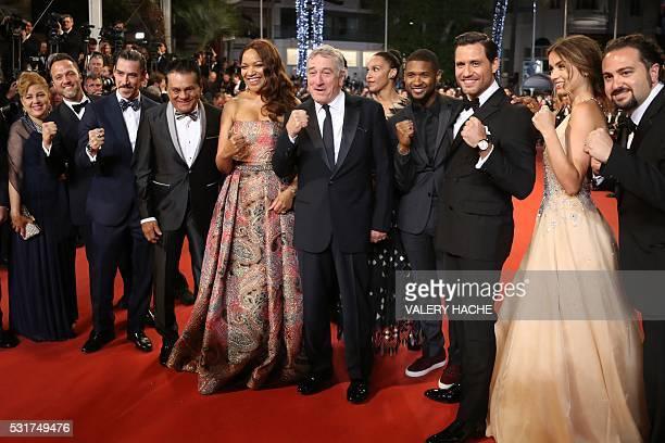 Robert Duran's wife Felicidad a guest Spanish actor Oscar Jaenada Panamanian boxer Roberto Duran Grace Hightower de Niro US actor Robert de Niro US...