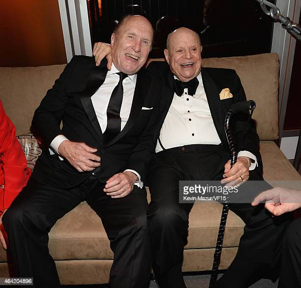 Robert Duvall and Don Rickles attend the 2015 Vanity Fair Oscar Party hosted by Graydon Carter at the Wallis Annenberg Center for the Performing Arts...