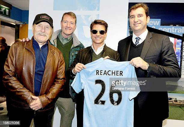 Robert Duvall Lee Child and Tom Cruise from the Paramount Pictures film 'Jack Reacher' with Ferran Soriano CEO of Manchester City attend the...