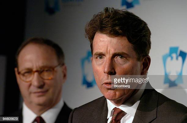 Robert E Diamond Jr right president of Barclays Plc speaks as Bruce Ratner president and chief executive officer of Forest Ratner Companies and...