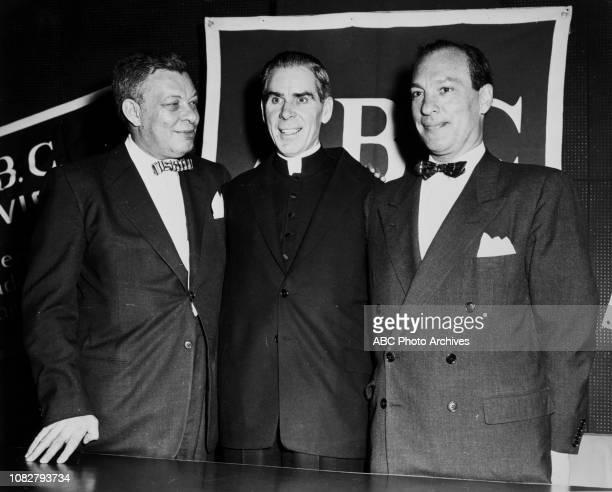 Robert E Kintner president of American Broadcasting Company Bishop Fulton J Sheen Leonard H Goldenson president of American BroadcastingParamount...