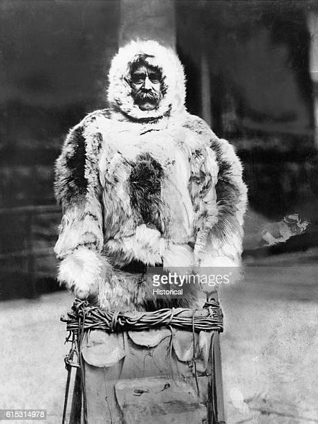 Robert E Peary the man usually credited with first reaching the North Pole wearing furs and driving a sled in 1909
