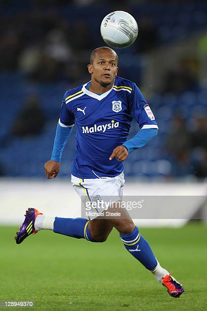 Robert Earnshaw of Cardiff City competes during the Carling Cup third round match between Cardiff City and Leicester City at the Cardiff City Stadium...