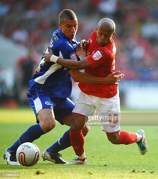 Robert Earnshaw of Nottingham Forest battes with Jeffrey Bruma of Leicester City during the npower Championship match between Nottingham Forest and...