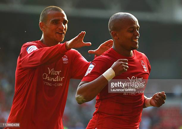 Robert Earnshaw of Nottingham Forest celebrates after scoring the 21 during the npower Championship match between Nottingham Forest and Leicester...