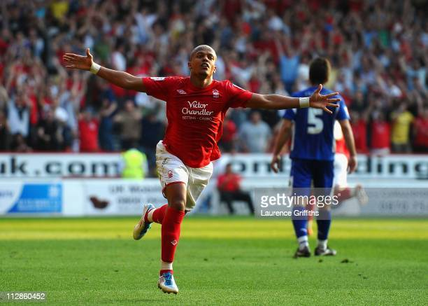 Robert Earnshaw of Nottingham Forest celebrates after scoring the 21 goal during the npower Championship match between Nottingham Forest and...