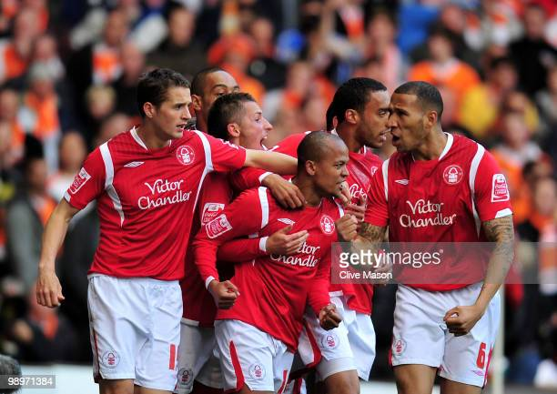 Robert Earnshaw of Nottingham Forest celebrates his goal during the Coca Cola Championship Play-Off Semi-Final Second Leg match between Nottingham...