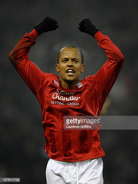 Robert Earnshaw of Nottingham Forest celebrates his goals during the npower Championship match between Nottingham Forest and Derby County at the City...