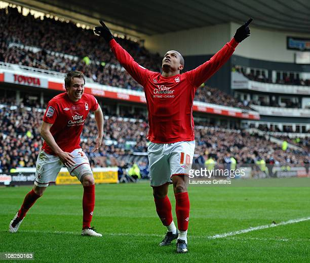 Robert Earnshaw of Nottingham Forest celebrates his winning goal during the npower Championship match between Derby County and Nottingham Forest at...