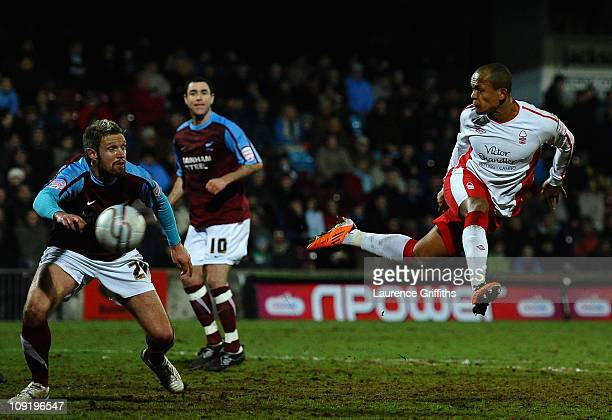 Robert Earnshaw of Nottingham Forest fires in a header during the npower Championship match between Scunthorpe United and Nottingham Forest at...