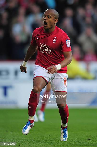 Robert Earnshaw of Nottingham Forest in action during the npower Championship Play Off Semi Final First Leg match between Nottingham Forest and...