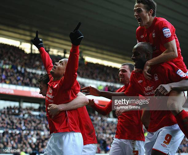 Robert Earnshaw of Nottingham Forest is congratulated on the winning goal during the npower Championship match between Derby County and Nottingham...