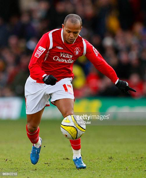 Robert Earnshaw of Nottingham Forest runs with the ball during the Coca Cola Championship match between Watford and Nottingham Forest at Vicarage...