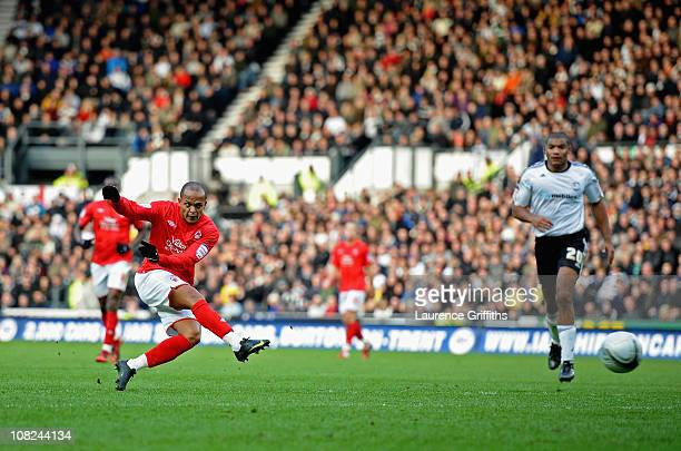 Robert Earnshaw of Nottingham Forest scores the winning goal during the npower Championship match between Derby County and Nottingham Forest at Pride...
