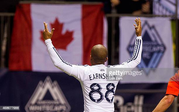 Robert Earnshaw of the Vancouver Whitecaps FC celebrates after scoring a goal in MLS action against the Portland Timbers on March 28 2015 at BC Place...