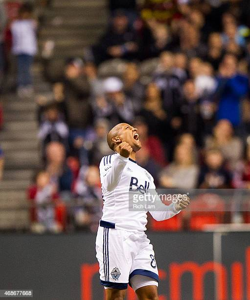 Robert Earnshaw of the Vancouver Whitecaps FC celebrates after defeating the Portland Timbers in MLS action on March 28 2015 at BC Place Stadium in...